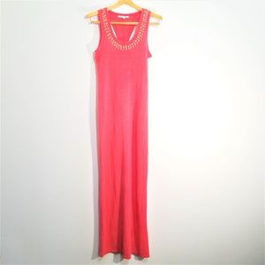 Victoria's Secret Beaded Coral Maxi Dress